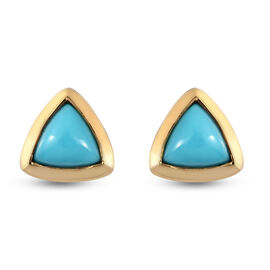 Arizona Sleeping Beauty Turquoise Stud Earrings (with Push Back) in Yellow Gold Overlay Sterling Sil