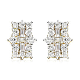 ILIANA 18K Yellow Gold IGI Certified (SI/G-H) Diamond (Bgt and Rnd) Earrings (with Screw Back) 1.00