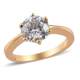 2 Carat Made with Swarovski Zirconia Solitaire Ring in Sterling Silver