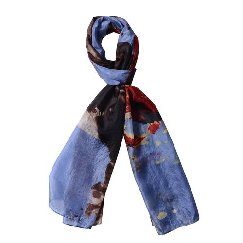 New Season-100% Mulberry Silk Charcoal Blue, Brown and Multi Colour Scarf (Size 175x53 Cm)