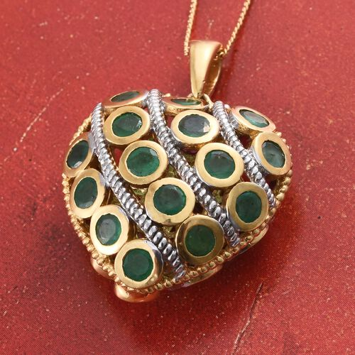 Designer Inspired - African Ruby (Rnd), Kagem Zambian Emerald Heart Pendant with Chain in 14K Gold Overlay Sterling Silver 6.500 Ct.