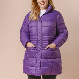 Winter Puffer Jacket with Middle Zip In Plum Purple