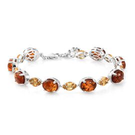 Baltic Amber (Ovl), Citrine Bracelet (Size 7.5) in Platinum Overlay Sterling Silver 7.250 Ct. Silver wt 13.53 Gms.