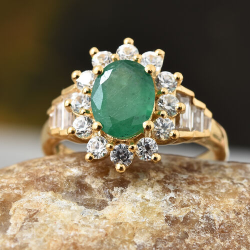 AA Kagem Zambian Emerald (Ovl), Natural Cambodian Zircon Ring in 14K Gold Overlay Sterling Silver 2.350 Ct.