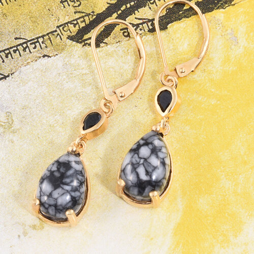 Austrian Pinolith (Pear), Boi Ploi Black Spinel Lever Back Earrings in 14K Gold Overlay Sterling Silver 7.500 Ct.