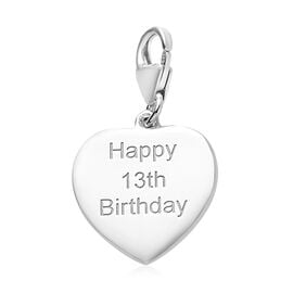 Platinum Overlay Sterling Silver Happy 13th Birthday Charm