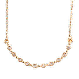 Diamond (Rnd) Necklace (Size 18) in 14K Gold Overlay Sterling Silver   0.200 Ct.