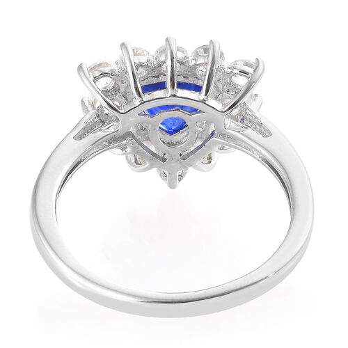 Blue Spinel (Trl), Natural Cambodian Zircon Ring in Platinum Overlay Sterling Silver 2.500 Ct.
