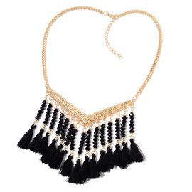 Black Colour Seed Beads Tassel Necklace (Size 19 with 2 inch Extener) in Yellow Gold Tone