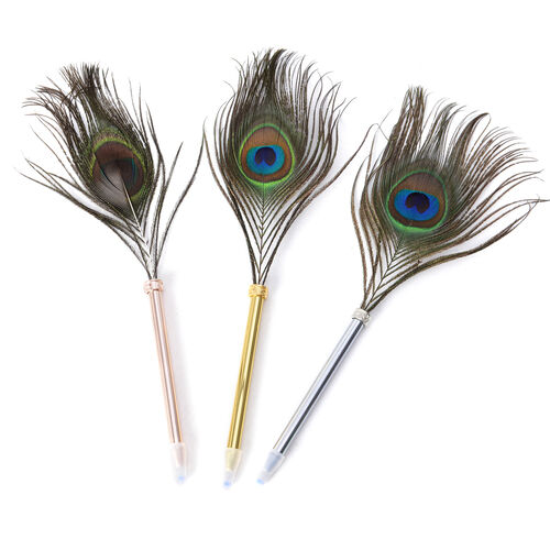 Set of 3- Rose, Silver and Gold Tone Ball Pens with Peacock Feather
