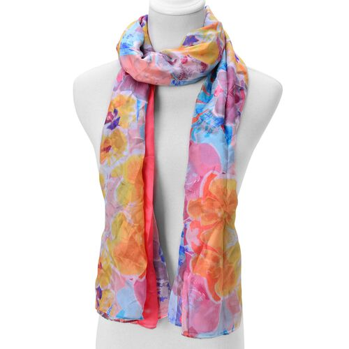 100% Mulberry Silk Blue, Pink and Multi Colour Floral Pattern Scarf (Size 180x110 Cm)