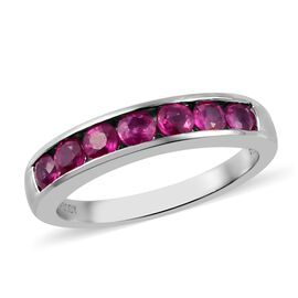RHAPSODY 950 Platinum AAAA Burmese Ruby Half Eternity Band Ring  1.00 Ct, Platinum wt 5.35 Gms