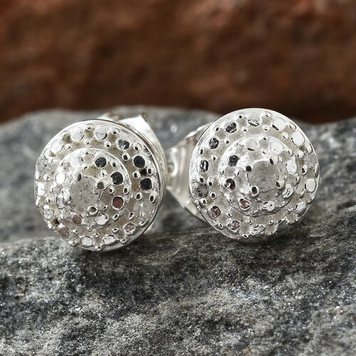 Diamond (Rnd) Stud Earrings (with Push Back) in Sterling Silver