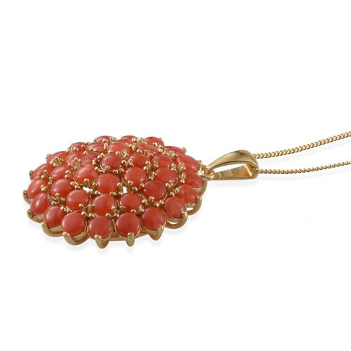 Mediterranean Coral (Rnd) Cluster Pendant With Chain in 14K Gold Overlay Sterling Silver 5.250 Ct.
