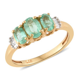 Boyaca Colombian Emerald (Ovl), Diamond Ring in 14K Gold Overlay Sterling Silver 1.000 Ct