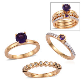 Set of 3 - Amethyst (Rnd), Natural White Cambodian Zircon Ring in 14K Gold  Overlay Sterling Silver 1.000 Ct, Silver wt 7.57 Gms.