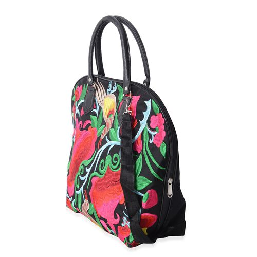 Shanghai Collection Black and Multi Colour Floral and Bird Embroidery Tote Bag with Adjustable Shoulder Strap (43X29x15x37 Cm)