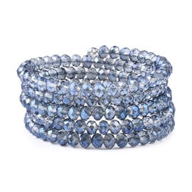 Simulated Blue Topaz Beaded Bangle (Size 7)