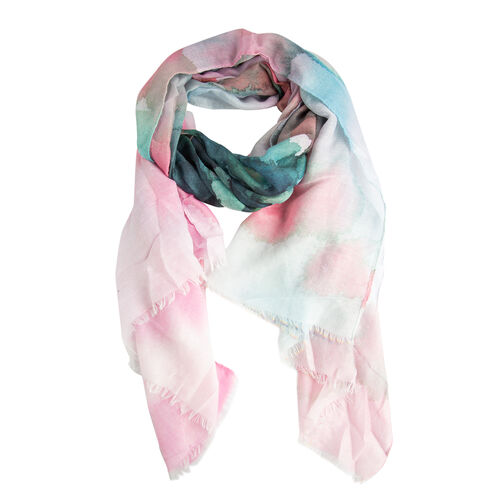 Designer Inspired- Pink, Green and Multi Colour Art Round Shape Color Block Pattern Scarf (Size 170x75 Cm)