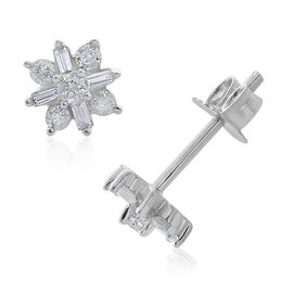 Super Auction - 9K White Gold SGL Certified Diamond (I3/G-H) Stud Earrings (with Push Back) 0.250 Ct.
