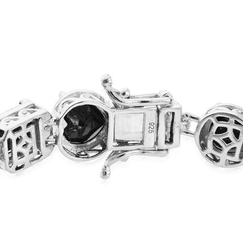 Boi Ploi Black Spinel COCKTAIL Bracelet (Size 7.75) in Platinum Overlay Sterling Silver 37.500 Ct. Silver wt. 16.40 Gms.