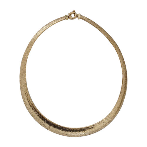 Italian Made Domed Graduated Omega Necklace in 9K Yellow Gold 7.68 Grams 17 with 2 inch Extender
