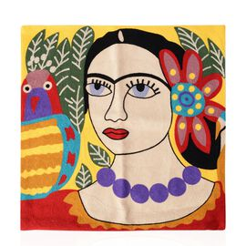 Frieda Kahlo Full Embroidery Cushion Cover (43x43 cm) Yellow