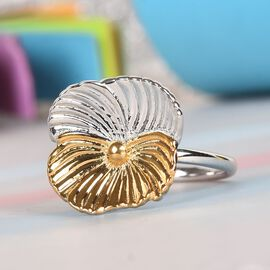 Floral Ring in Platinum and Yellow Gold Plated Sterling Silver