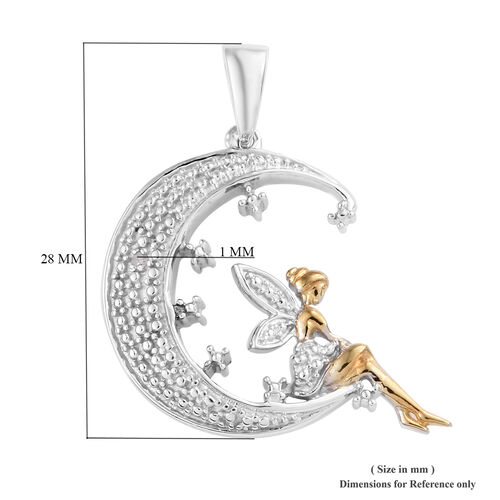 New Arrival- Diamond Half Moon with Fairy Pendant in Platinum and Yellow Gold Overlay Sterling Silver Pendant