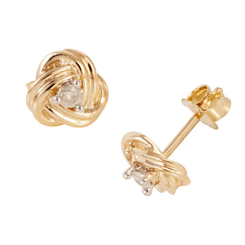 9K Yellow Gold 0.10 Carat Diamond (Rnd) Earrings (with Push Back) SGL Certified (I3/G-H)