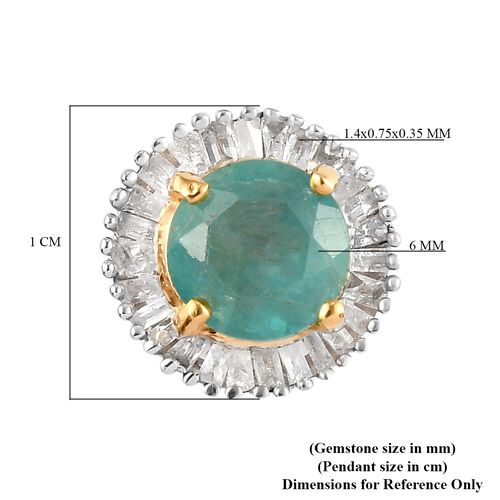 Grandidierite and White Diamond Halo Pendant in 14K Gold Overlay Sterling Silver 1.00 Ct.