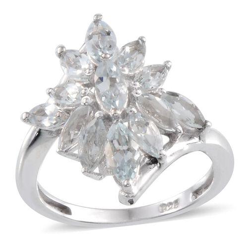 Espirito Santo Aquamarine (Mrq) Ring in Platinum Overlay Sterling Silver 2.250 Ct.