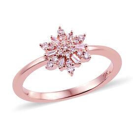 9K Rose Gold Natural Pink Diamond (Bgt and Rnd) Cluster Ring 0.150 Ct.