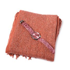2 Piece Set- Coral Colour Magic Scarf with Silver Threads (Size 170x20 Cm) and STRADA Japanese Movem