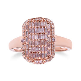 9K Rose Gold Natural Pink and White Diamond (Rnd and Bgt) Ring 0.75 Ct