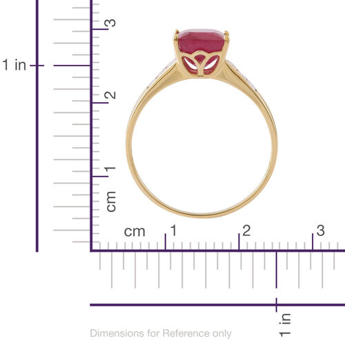 Exclusive Edition 9K Y Gold AAA African Ruby (Cush 4.65 Ct), Natural Cambodian White Zircon Ring 6.00 Ct.