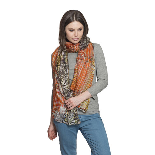 100% Mulberry Silk Orange, Yellow and Multi Colour Floral and Stripes Hand Screen Printed Scarf (Siz