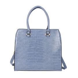 Croc Embossed Satchel Bag with Zipper Closure and Detachable Shoulder Strap (Size 32x12x28 Cm) - Blu