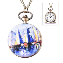 STRADA Japanese Movement Sailboat Port Pattern Water Resistant Pocket Watch with Chain (Size 31) in