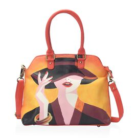 Sukriti Contemporary Art Collection - 100% Genuine Leather Lady in Hat Hand Painted Shoulder Bag wit