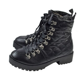 Black Ladies Lace-Up Quilted Ankle Boots