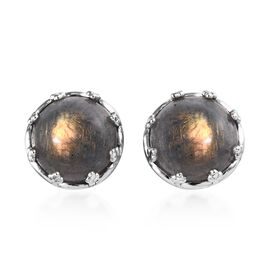 100% Natural Bokonaky Fire Labradorite (Rnd 12 mm) Stud Earrings (with Push Back) in Platinum Overla