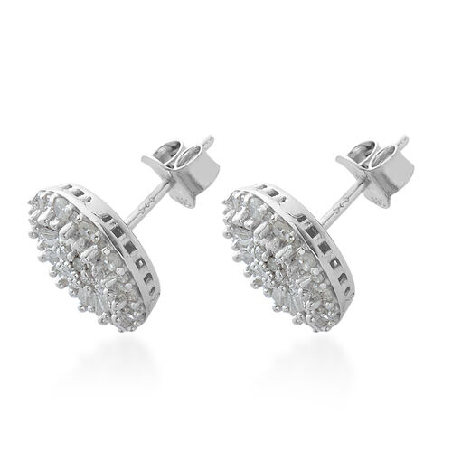 Diamond (Rnd and Bgt) Stud Earrings in Platinum Overlay Sterling Silver 1.000 Ct.