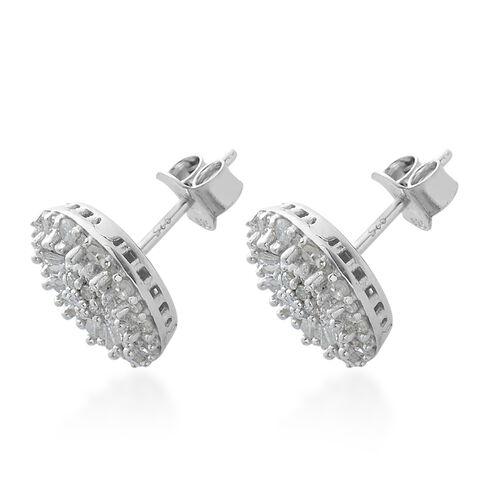Diamond (Rnd and Bgt) Stud Earrings in Platinum Overlay Sterling Silver 1.000 Ct, Number of Diamond 110