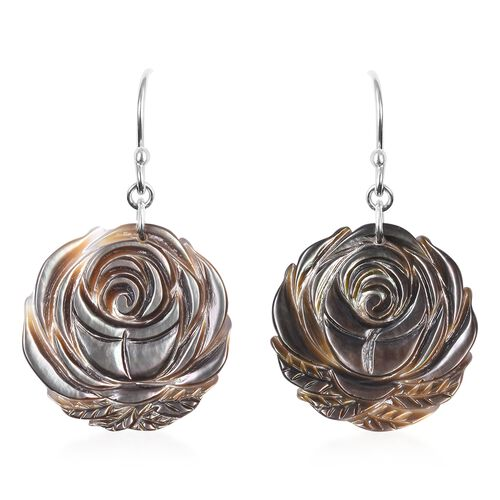 Carved Black Mother of Pearl Rose Floral Drop Earrings with Hook in Rhodium Plated Sterling Silver