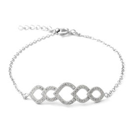 ELANZA Simulated Diamond (Rnd) Bracelet (Size 7 with Extender) in Rhodium Overlay Sterling Silver