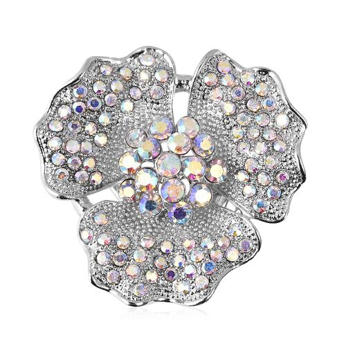 Aurora and White Colour Austrian Crystal (Rnd) Clasp in Silver Tone