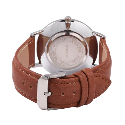 STRADA Japanese Movement Water Resistant White Austrian Crystal Studded Watch with Brown Colour Strap