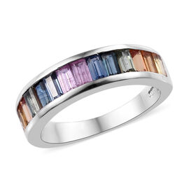 2 Carat Rainbow Sapphire Half Eternity Band Ring in Platinum Plated Sterling Silver
