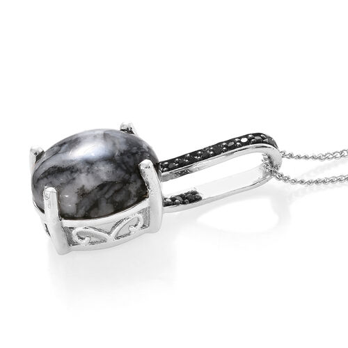 Austrian Pinolith (Ovl), Boi Ploi Black Spinel Pendant with Chain in Platinum Overlay Sterling Silver 5.250 Ct.